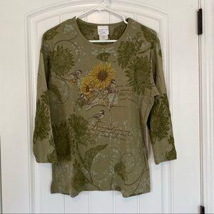 Morning Sun Green Sunflower 3/4 Sleeve Top Large